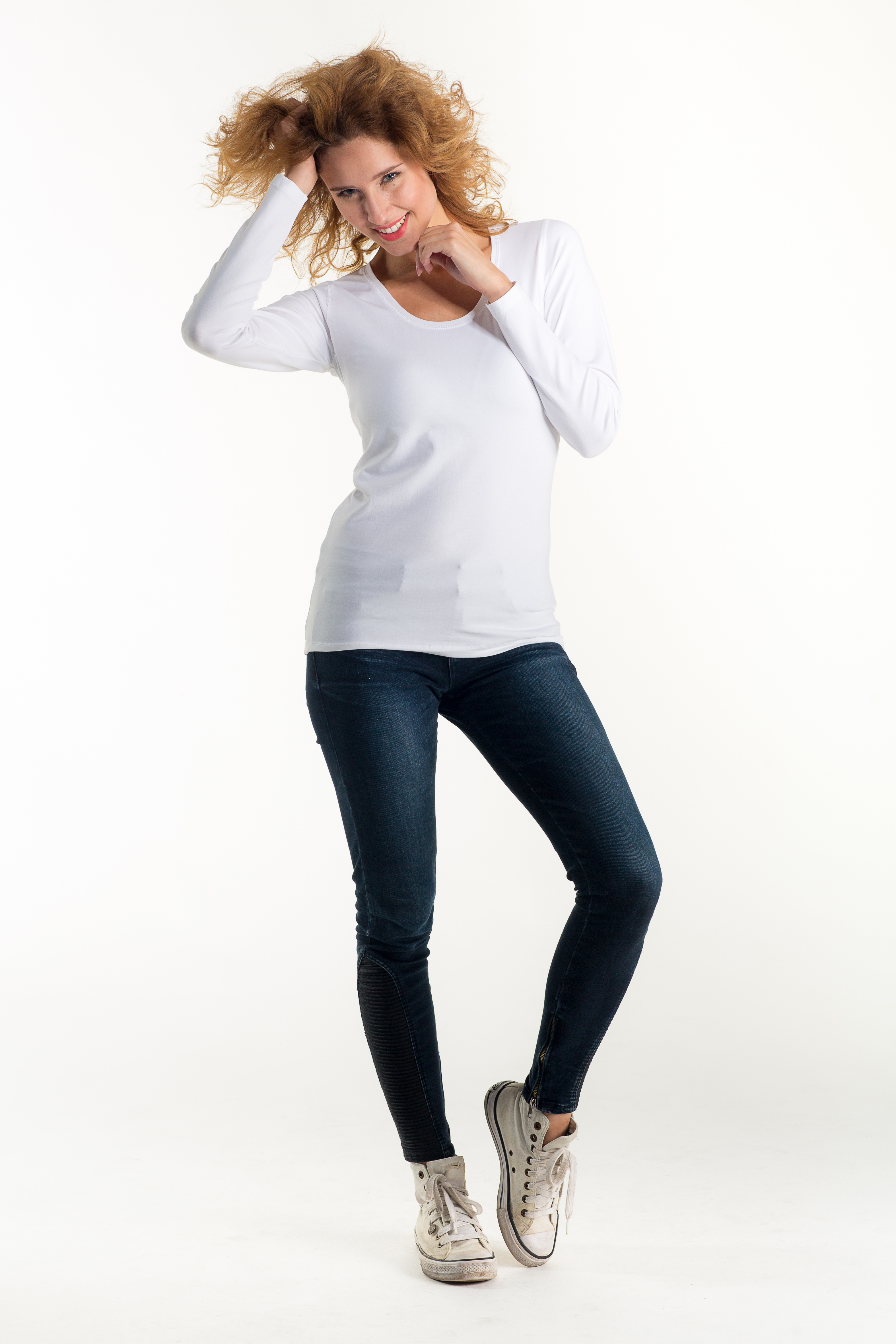 Ladies Fitted T Shirt Long Sleeve Ef202